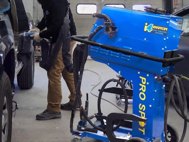 A Pro Spot welding machine being used by an employee